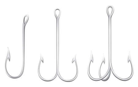 hooks: Series of fishing hooks illustration