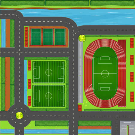 complex: Sporting complex aerial view illustration
