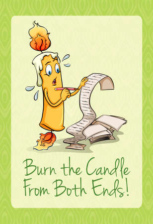 figurative: Burn the candle from both ends illustration Illustration