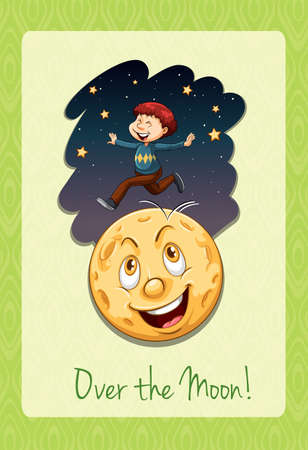 idiom: Over the moon idiom illustration Illustration