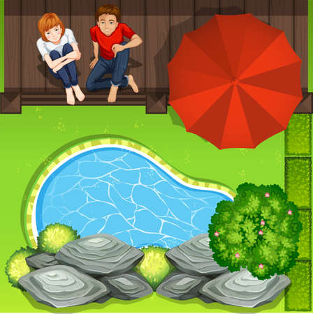 ponds: Couple sitting near pond aerial perspective illustration