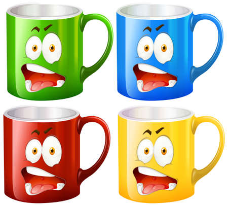 Coffee mugs with facial expressions illustration Illustration