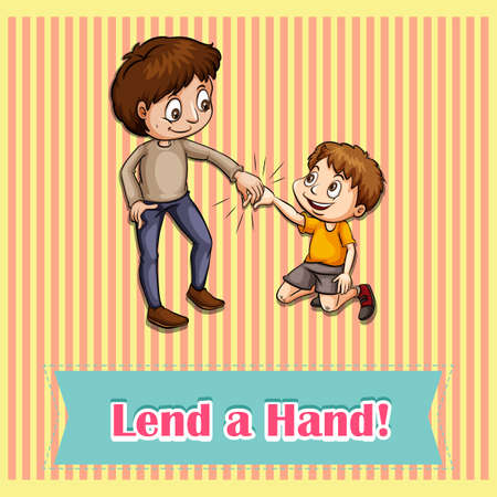 idiom: Lend a hand idiom concept illustration