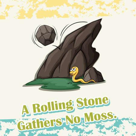 Stone rolling off mountain       illustration