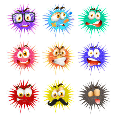thorny: Thorny ball with faces illustration