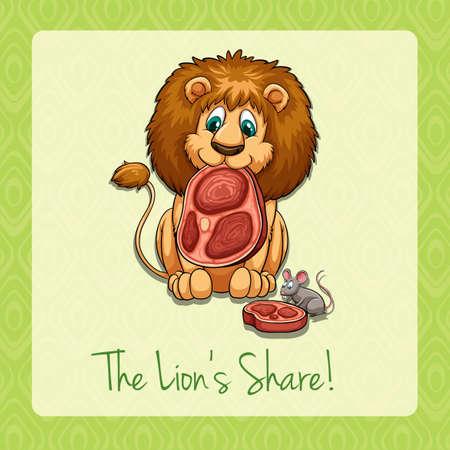 English idiom lions share illustration