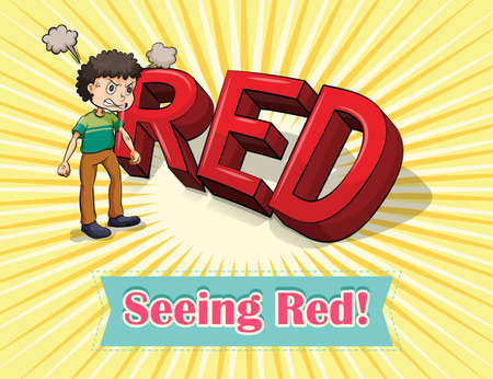 figurative art: English idiom seeing red illustration
