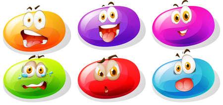 frijoles: Caramelos de goma con caras ilustración