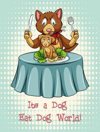 figurative art: Dog eat dog idiom expression illustration