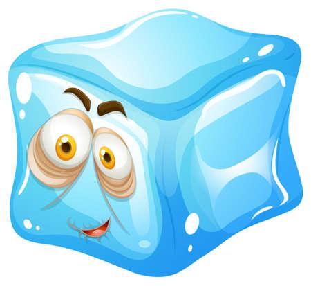 ice cubes: Ice cube with sleepy face illustration Illustration
