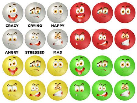 expression visage: L'expression du visage sur les insignes rondes illustration Illustration