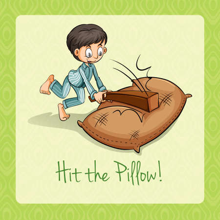 hit: Idiom hit the pillow illustration