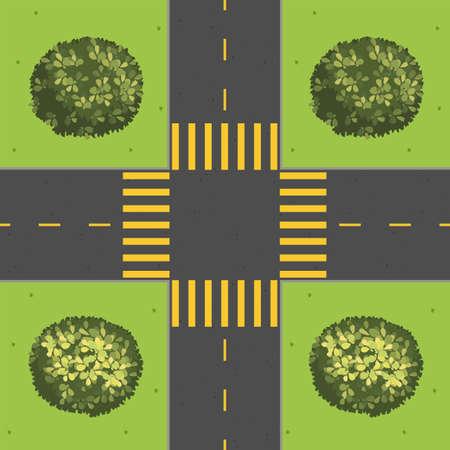 green street: Junction with corner plants illustration