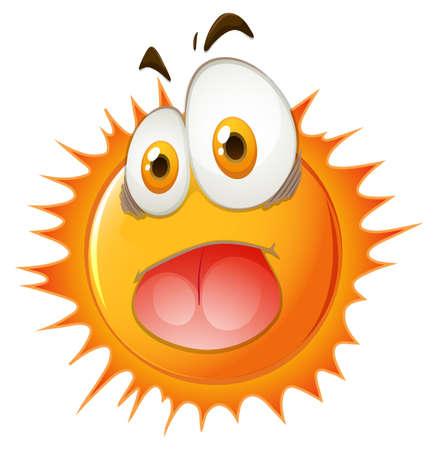 Sun with shocking face illustration Illustration