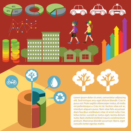 housing: Infographic with graphs and people illustration Illustration