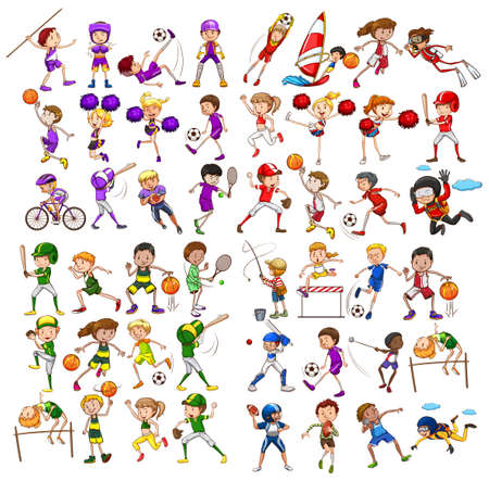 baloncesto chica: Niños jugando varios ilustración deportes Vectores
