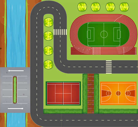 jogging: Roads and sports facilities illustration Illustration