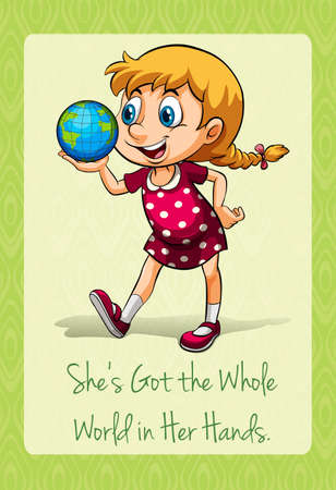 got: Shes got the whole world in her hands illustration