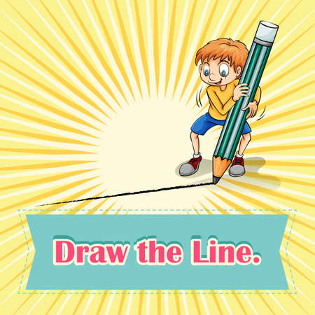 figurative art: Idiom draw the line illustration Illustration