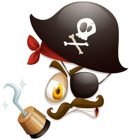 Gezichtsuitdrukking met piraat hoed illustratie Stock Illustratie
