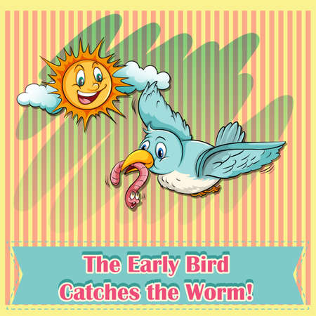 The early bird catches the worm illustration