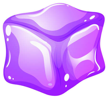 ice cube: Purple ice cube on white illustration