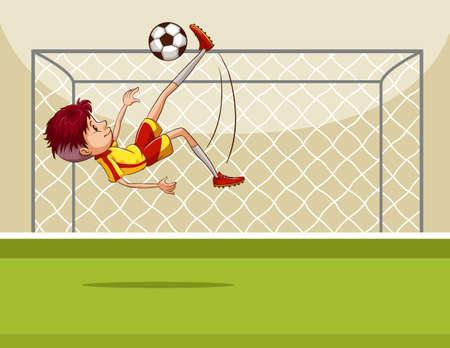kicking ball: Recogepelotas patadas en la ilustraci�n de campo