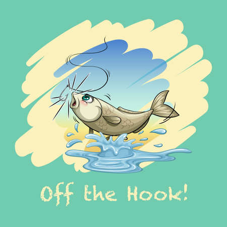 fish water: Idiom off the hook illustration Illustration