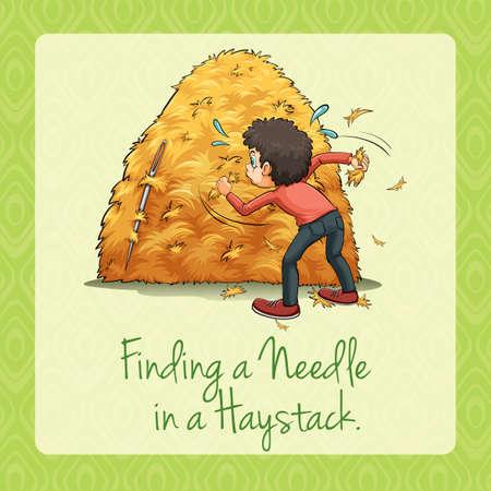 needles: Finding needle in a haystack illustration Illustration