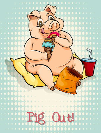 pig out: English idiom pig out illustration