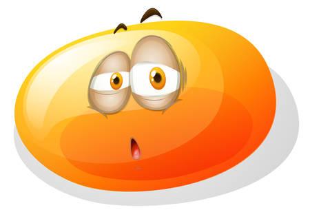 Yellowish slime with sad face illustration