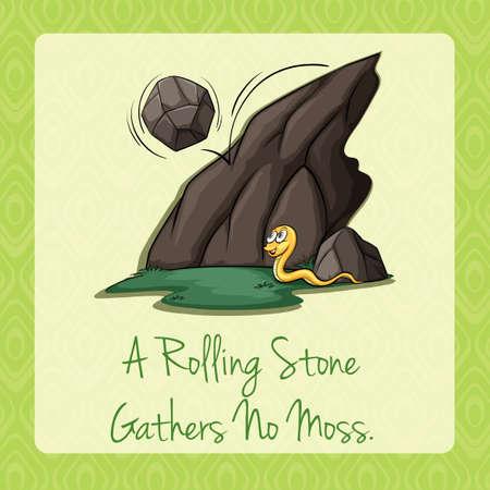 figurative: Rolling stone gathers no moss illustration Illustration