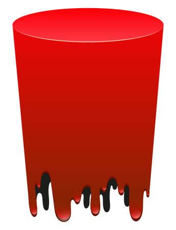 blow up: Red color melting on white illustration Illustration
