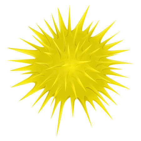 thorny: Yellow thorny ball on white illustration