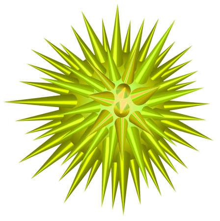 shinning: Green ball with throns illustration
