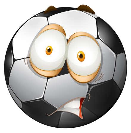 pelota de futbol: Fútbol con la cara impactante ilustración