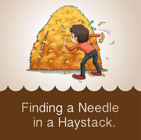 Finding needle in haystack illustration Illustration