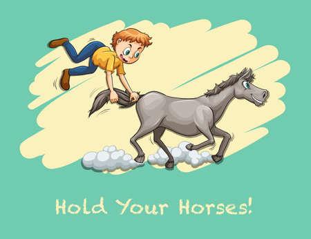 the tail: Hombre que sostiene la cola del caballo ilustraci�n