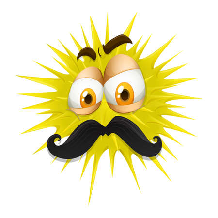 thorny: Yellow thorny ball with mustache illustration