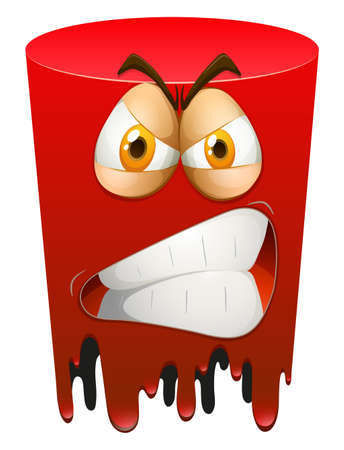 irked: Red angry form on white background illustration