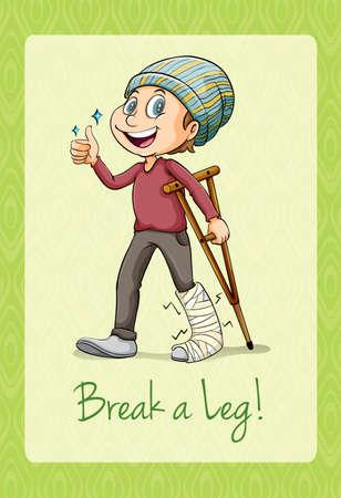 pierna rota: Idiom romper una ilustración de la pierna