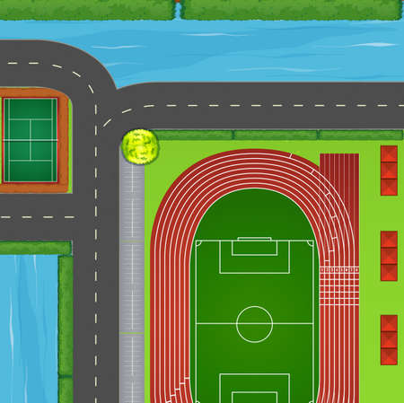 fields  grass: Top view of sport field and surrounding illustration