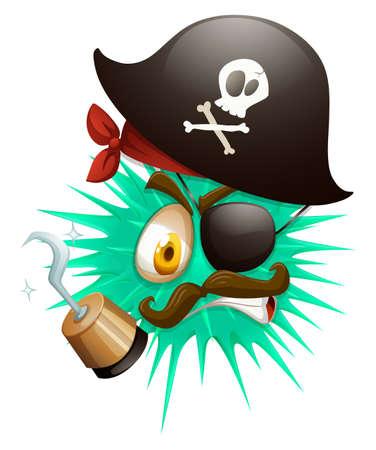 sombrero pirata: Bola espinosa en traje de pirata ilustración