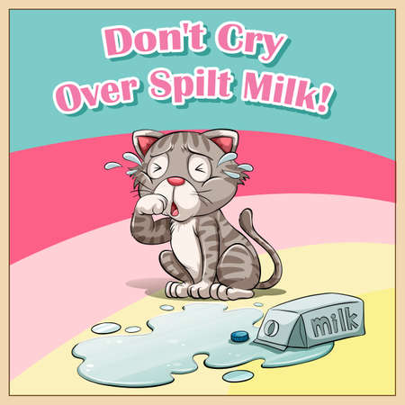 spilt: Cat crying over spilt milk illustration
