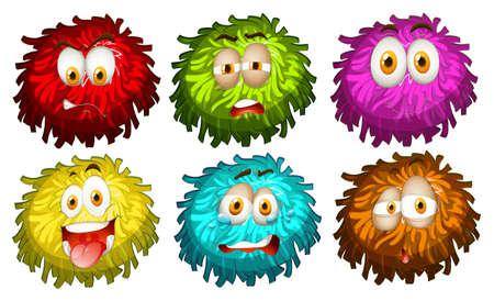 expresiones faciales: Conjunto de diversas expresiones faciales ilustraci�n
