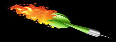 Green dart on fire illustration Illustration