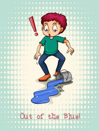 spill: Man spill blue color illustration Illustration