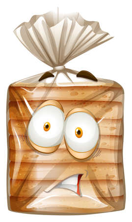 bread: Bread package with scared face illustration