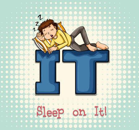 snoring: Man sleeping on IT illustration Illustration