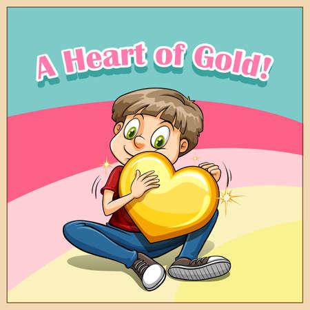 figurative: Idiom heart of gold illustration